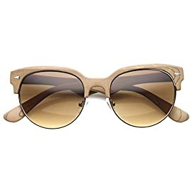Retro Wood Print Half Frame Round Lens Horn Rimmed Sunglasses 53mm 5 <p>Retro horn rimmed sunglasses feature solid color and wood prints for a classy update to a recognizable style. This look features a half frame with a smooth patterned finish. Triangular temple accents complete the style with eye catching details sure to enhance any ensemble. Made with a plastic based frame, metal hinges and polycarbonate UV protective lens. Lens Height: 45 mm | Lens Width: 53 mm | Bridge: 23 mm | Frame Total: 135 mm Retro Inspired Design Horn Rimmed Half Frame High Sitting Temples Round Tinted Lens 30 DAY MONEY BACK GUARANTEE AND 90 DAY LIMITED WARRANTY AGAINST MANUFACTURER DEFECTS: Our main goal is make our customers happy and provide the best shopping experience; If you are not completely satisfied with our product or your purchase please contact us, we'll be happy to help</p>