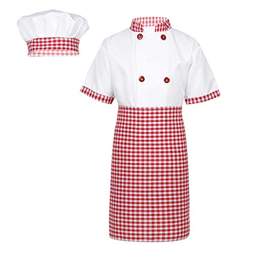 iEFiEL Unisex Boys Girls' 4 Pieces Chief Kitchen Cooking Outfits Short Sleeves Jacket with Apron Hat Cosplay Fancy Dress Up Red 7-8