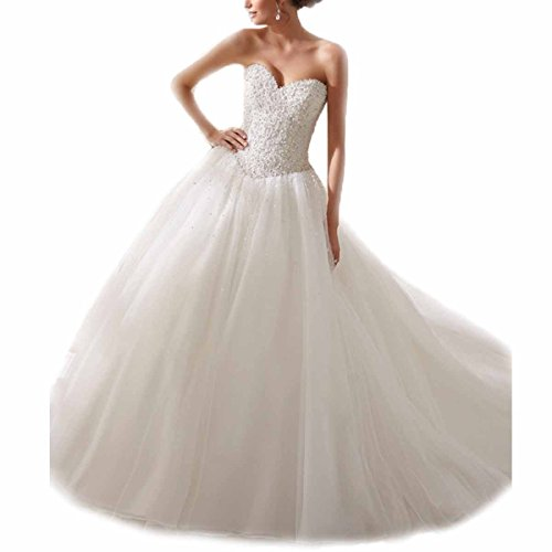 KLN_Dress Women's Sweetheart Strapless Luxury Pearls Beaded Wedding Dress Sequins Beading Wedding Ball Gowns