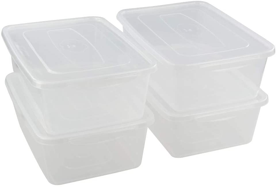 Jekiyo Clear Plastic Storage Bin, 14 Quart Latching Box Container with Lid, 4 Packs