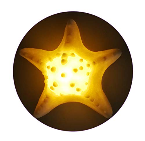 Portable Sandstone Starfish Night Light for Kids Adults Flameless Candle Tea Light Home Decor Ocean Theme Battery Operated, Warm White