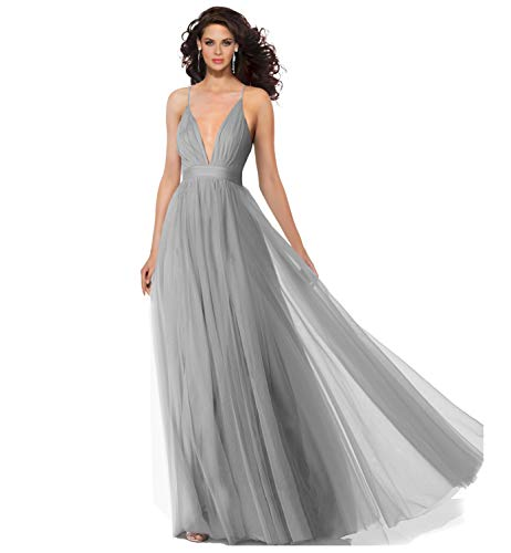 Alluring deep v-Neckline Spaghetti Straps Criss-Cross Open Back Tulle Dual Front Slits Evening Prom Formal Dress (Silver Grey, ()