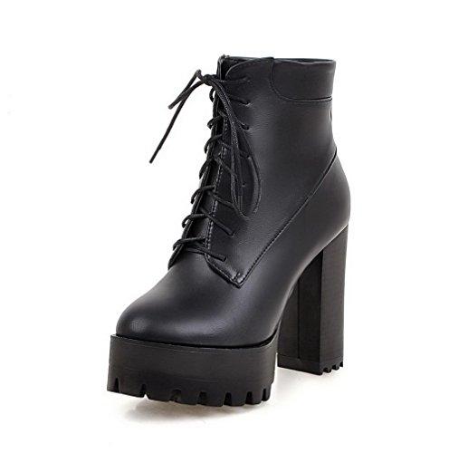AgooLar Damen Weiches Material Schnüren Rund Zehe Niedrig-Spitze Stiefel mit Knoten, Schwarz, 35