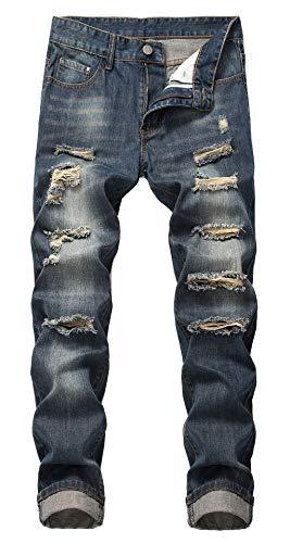 GARMOY Mens Mid Waist Casual Skinny Ripped Jeans Straight Leg Distressed Denim Pants 305 Dark Blue 32