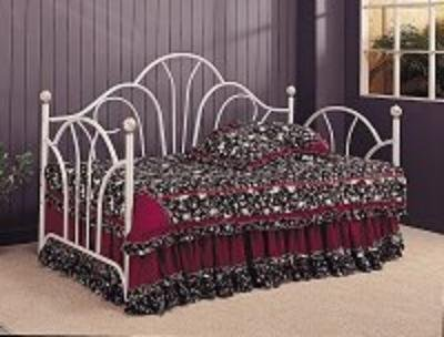 Coaster Home Furnishings Traditional Style White Metal Fan High Back Daybed/Day Bed with Porcelain Knobs Accented
