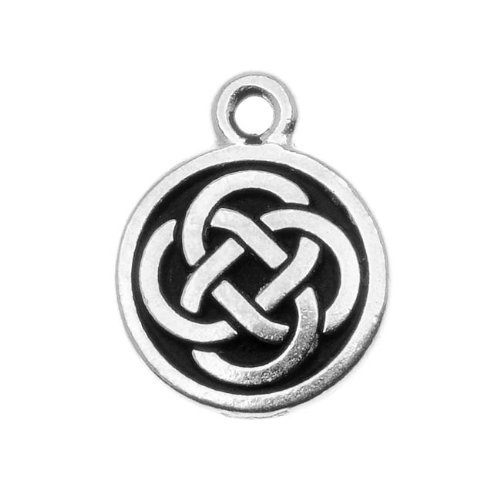 - TierraCast Fine Silver Plated Pewter Celtic Round Charm 15mm (1)