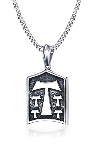 Stainless Steel Antique Tau Tao Cross Pendant Necklace for Men, 24