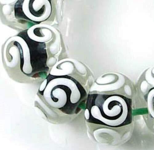 ((12 Beads) LAMPWORK Handmade Glass Black White Raised Scroll Rondelle)