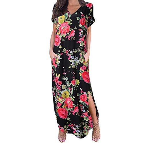 (iBOXO Summer Women's Casual Bohemian Pocket Print Maxi Dress V-neck Short Sleeve Split)