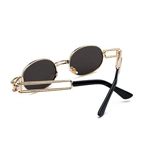 gafas transparente lente de Inlefen los ovales redondas sol marco de de Gafas de Lentes de señoras de hombres metal Dorado Gafas Cqw1x6qfA