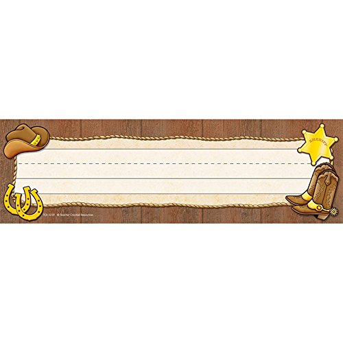 TEACHER CREATED RESOURCES WESTERN FLAT NAME PLATES (Set of 24)