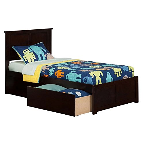 Atlantic Furniture Madison Flat Panel Foot Board with 2 Urban Bed Drawers, Twin XL, Espresso