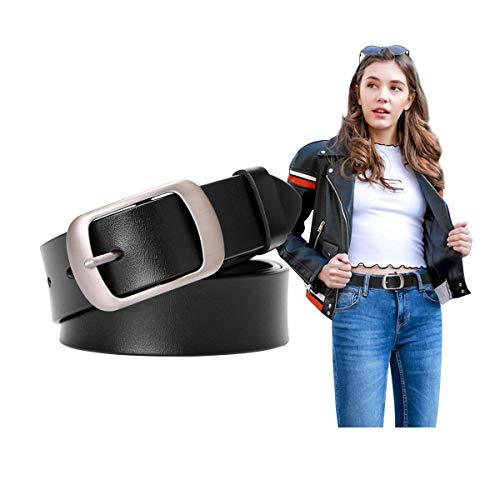 Women Cowhide Leather Belts Black Belt Women Leather Waist Belt with Pin Buckle Women Vintage Retro Belts for Jeans Dress Pants,black,31-36