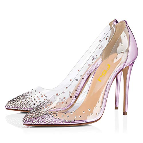 FSJ Women Studded Pointed Toe Transparent Pumps High Heels Shoes with Cute Bowknot Size 11 Violet ()