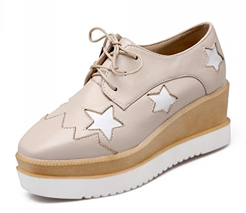 Aisun Women's Casual Star Square Toe Thick Sole Platform Sneakers Dress Wedge Mid Heel Booties Lace Up Oxfords Shoes Beige 6.5 B(M) US