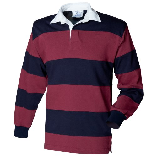 Cotton Rugby Long Sleeve - Front Row Sewn Stripe Long Sleeve Sports Rugby Polo Shirt (XL) (Burgundy/Navy)