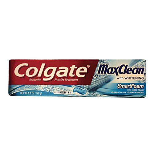 Colgate MaxClean Smartfoam with Whitening, Spearmint Blast Toothpaste, 6 Ounce (Pack of 5)