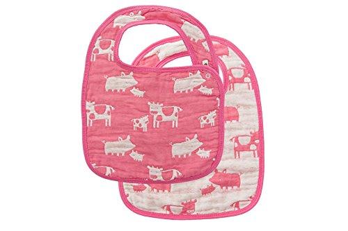 Angel Dear Jacquard Bibs, Farm Animal Pink