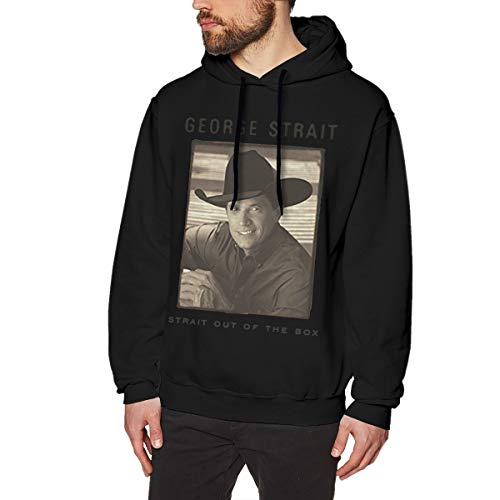 LilianR George Strait Strait Out of The Box Men's Hoodies Hooded Sweatshirt L Black