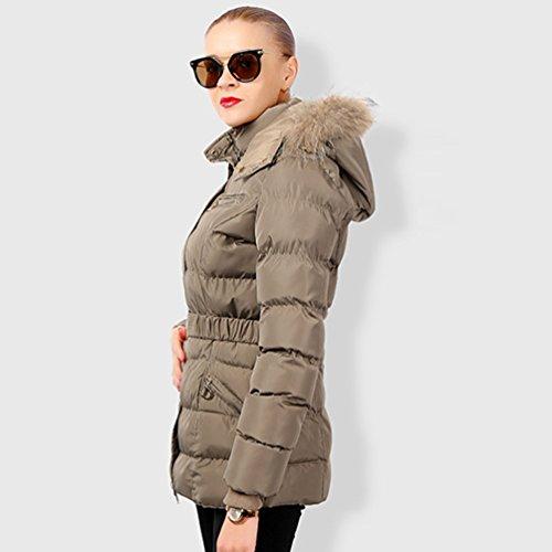 Fourrure Femme Elegant Manteau Faux Sentao Capuche Hiver Jacket Kaki Blouson Parka Chaud Veste À pWdxx0qwF