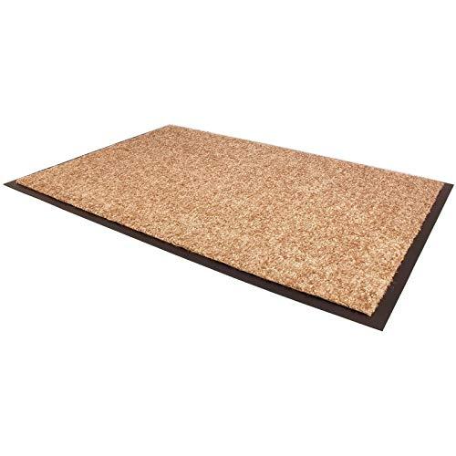 Schmutzfangmatte CONTI – Creme 90cm x 150cm, Waschbare, Rutschfeste, Pflegeleichte Fußmatte, Eingangsmatte, Küchenläufer Matte, Türvorleger für Innen & Außen