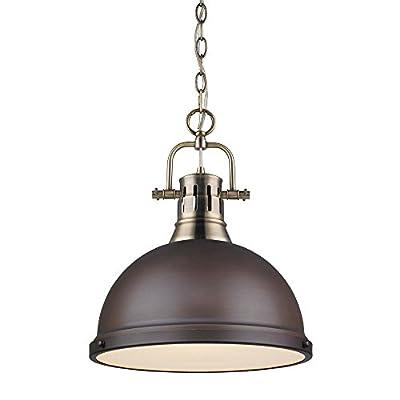Golden Lighting 3602-L AB-RBZ Duncan - One Light Chain Pendant, Shade Options: Rubbed Bronze