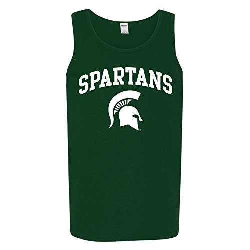 Michigan State Spartans Arch Logo Mens Tank Top - Small - Forest Green