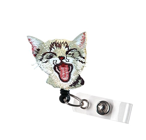 LOVEKITTY - Dog or Cat Cute Animal Image Embroidery Felt Alligator Swivel Clip Retractable ID Badge Reel / Name Badges / ID Badge Holder (14)