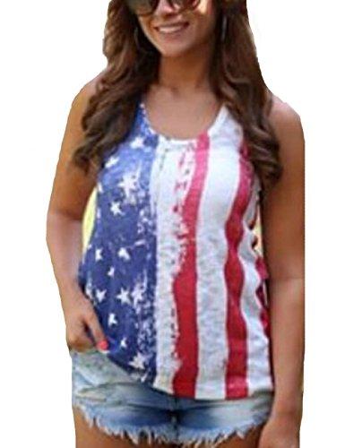 LaLaMa Womens sexy Stars & Stripes American Flag Tank Top Shirt (Usa Flag Adult Tunic Costume)