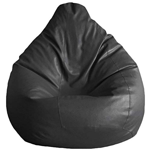 Cozy Signature Leather Bean Bag Cover Without Bean Black Leather Sitting Comfort Rest Bean Bag Sofa ()
