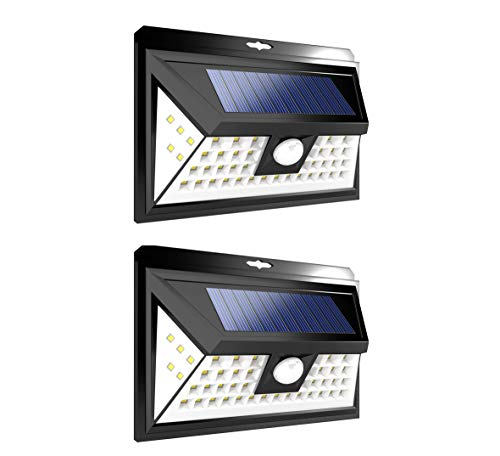 - Leisure LED 46 LED Wall Solar Light Outdoor Security Lighting Nightlight with Motion Sensor Detector for Garden Back Door Step Stair Deck Yard Driveway RV Trailer Motorhome (Black, 2-Pack 46-LED)