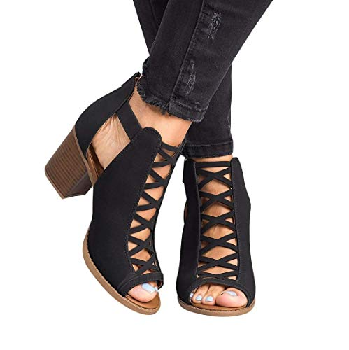 (Ermonn Womens Open Toe Heeled Sandals Buckle Strap Chunky Stacked High Heel Ankle Booties Black )