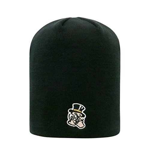 Wake Forest Demon Deacons Black Cuffless 2-Sided Beanie Hat - NCAA Knit Skull Cap