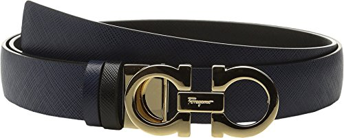 Salvatore Ferragamo Women's 23A565 Double Gancini Belt Oxford Blue 100 (40'' Waist) by Salvatore Ferragamo