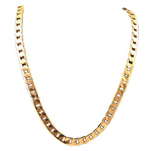 Clearance Deal! Hot Sale! Necklace, Fitfulvan 2018 Men Women Punk Fashion Luxury Filled Curb Cuban Link Gold Necklace Jewelry Chain (Gold) (Circular Flower Necklace)