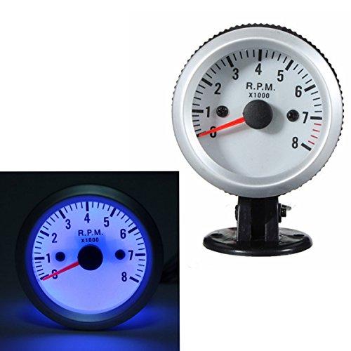 MATCC Tachometer Tach Gauge with Holder Cup for Auto Car 2'' 52mm 0~8000RPM Blue LED Light