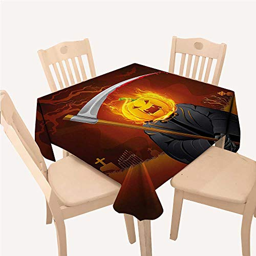 WilliamsDecor Halloween Decorations Small Square Tablecloth Pumpkin Grim Head Burning Flames Character Scary Creature NightmareOrange Grey Square Tablecloth W54 xL54 inch -