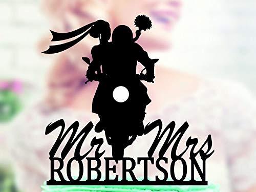 Wini2342ckey Motorcycle Couple Wedding Cake Topper, Groom on Motorcycle Topper, Motorbike Cake Topper, Funny Cake Topper, Mr & Mrs Topper, Last Name ()