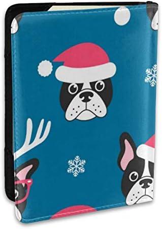 フレンチブルドッグ クリスマスハット パスポートケース メンズ 男女兼用 パスポートカバー パスポート用カバー パスポートバッグ ポーチ 6.5インチ高級PUレザー 三つのカードケース 家族 国内海外旅行用品 多機能