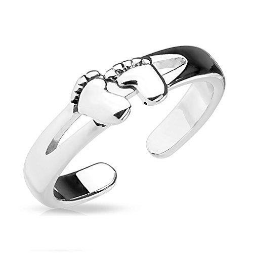 Amelia Fashion Baby Foot Pattern Adjustable Toe/Mid Finger Ring (Steel Baby Feet) (Feet Rings Baby With)
