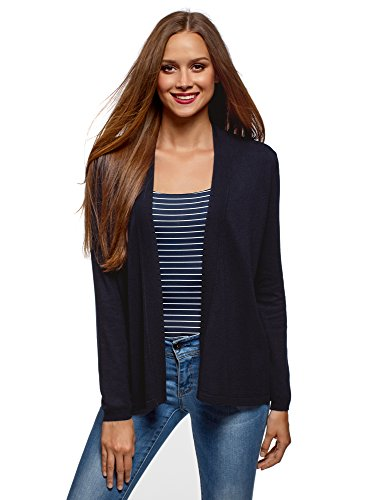 sans Coupe Ample Bleu oodji Fermeture Veste Collection Femme 7900n Bw1Aa1