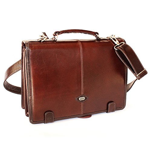 Compact leather case bag by Yeti Leather (Cognac), Made from full grain buffalo leather, solid brass hardware, guranteed for quality.Accomodates laptop upto (Cognac Leather Briefcase)
