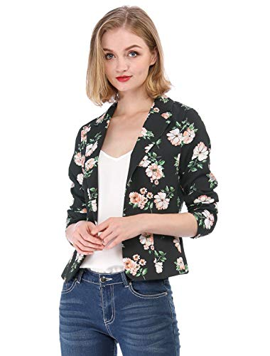 Allegra K Women's Long Sleeve Open-Front Floral Print Blazer Jacket M Black