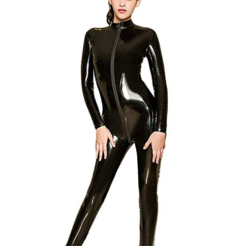 Women Bodysuit Onesie Women Wetlook PU Leather Lingerie Set Long Sleeve Zipper Full Bodysuit Costume Sheer Spandex Catsuit Clubwear Jumpsuits Cosplay Outfits (Color : Black, Size : One -