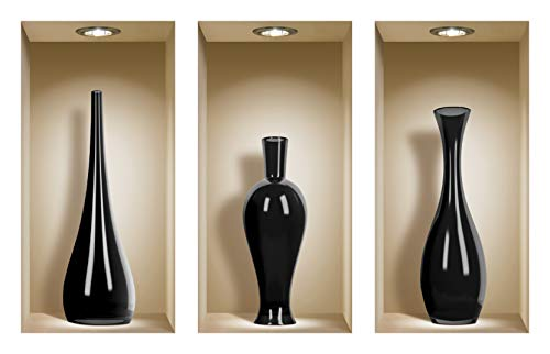 the Nisha Art Magic 3D Vinyl Removable Wall Sticker Decals DIY, Set of 3, Black Ceramic Vases
