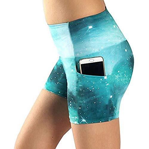 VEZAD Womens Yoga Shorts Basic High Waisted Side Pocket Short Sport Pants (Dot Capri Green Pants)