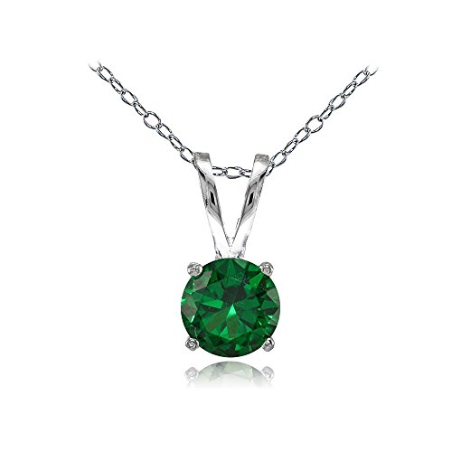 Round Created Emerald Pendant - Sterling Silver Created Emerald 7mm Round Solitaire Necklace
