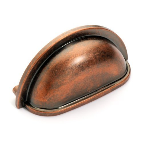 Copper Antique Cup - Dynasty Hardware P-2769-AC Cabinet Hardware Bin Pull, Antique Copper