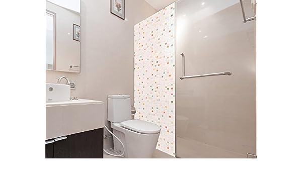 Vinilo para Mamparas Baños Azulejos Blancos y de Colores | Varias Medidas 185x70cm | Adhesivo Resistente y de Fácil Aplicación | Pegatina Adhesiva Decorativa de Diseño Elegante: Amazon.es: Hogar