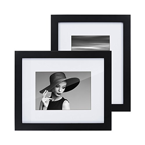 RooLee 2-Pack 8x10 Picture Frame Black Wood Photo Frame for Picture 5x7 with Mat or 8x10 Without Mat - Wall Mount or Tabletop (Accents Digital Picture Frame)